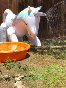 Photo of an inflatable unicorn fountain spraying water from its horn