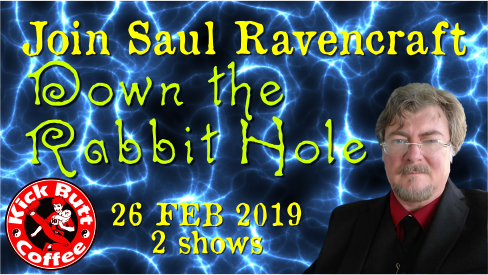Photo of saul with lightning behind and description: Join Saul Ravencraft Down the Rabbit Hole, 26 Feb 2019, 2 shows