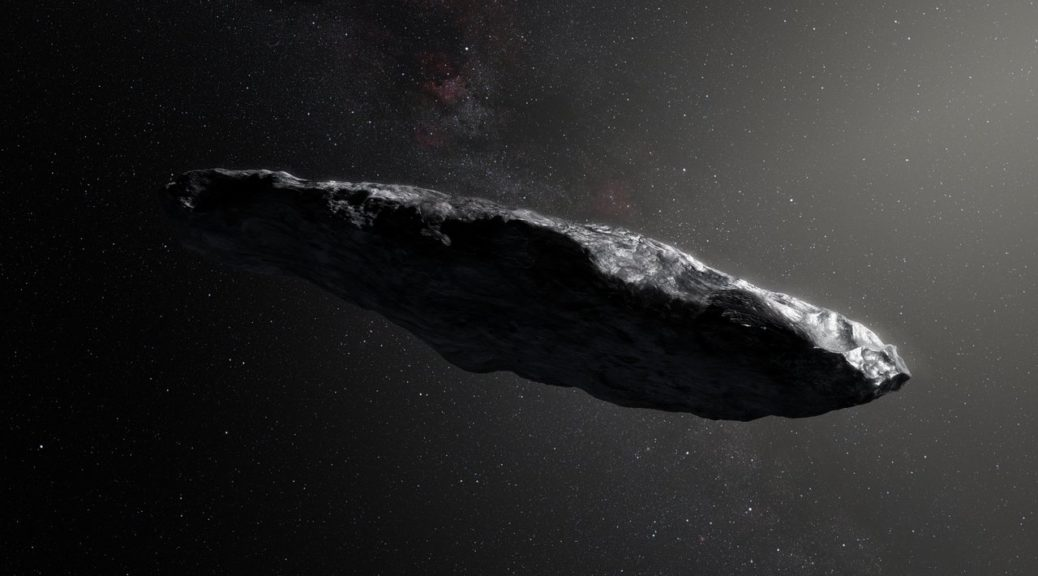 Artist's impression of the interstellar asteroid, Oumuamua, showing a large, cigar-shaped rock against a star field
