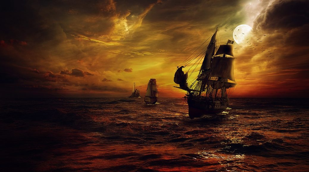 Sailing ship weathers a storm at twilight