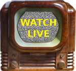 Vintage TV showing WATCH LIVE